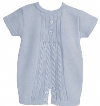 Baby Boys Blue Cable Knit Romper